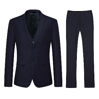 Allthemen Men's Classic Navy Slim Business Casual 2-Button 3-Piece Suit Blazer Vest Trousers