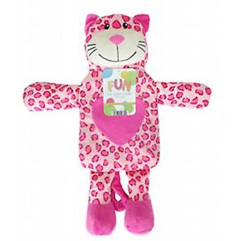 Kids Cute Novelty 1L Hot Water Bottle: Pink Leopard