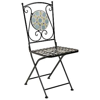 Charles Bentley 3 Piece Wrought Iron Mosaic Bistro Set Table and 2 Chairs