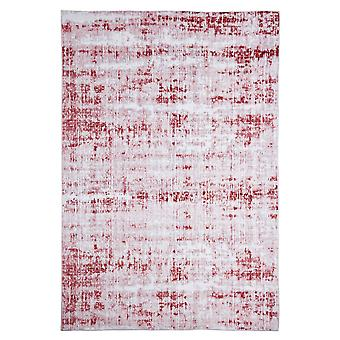 Modern carpet weaving carpet short flor indoor abstract bright-gray red 80 x 150 cm stain protection cotton mixture