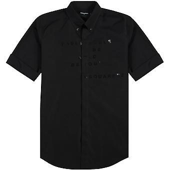 Dsquared2 Graphic Print Three Quarter Sleeve Shirt Black