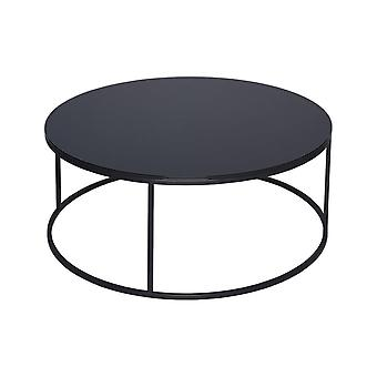Gillmore Space Black Glass And Black Metal Contemporary Circular Coffee Table