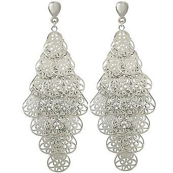 Eterna colección candelabro Filigrana tono plata gota Clip en pendientes