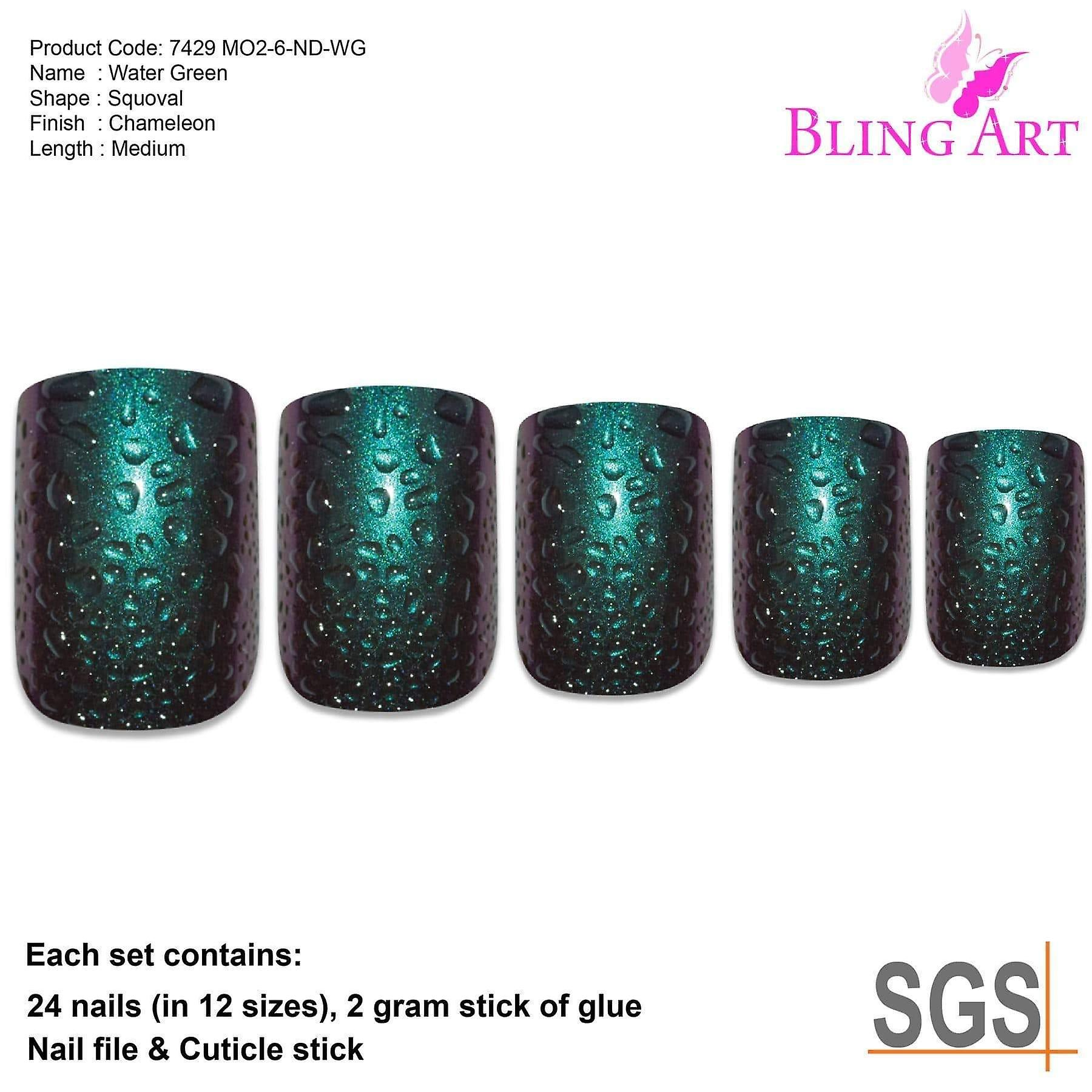 False nails by bling art green purple water french squoval 24 fake medium tips