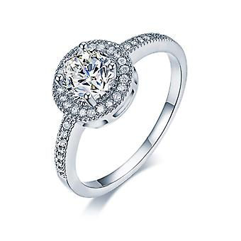 Round Halo Engagement Rings-Size 6