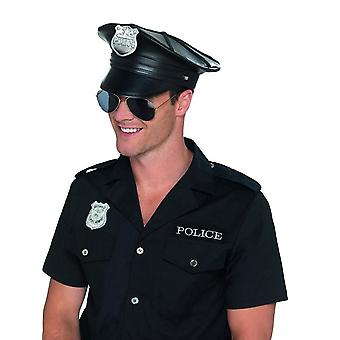 Deluxe polizia cappello nero faux pelle, poliziotti e ladri abito fantasia, una taglia
