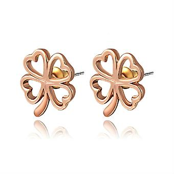 14K Rose Gold Plated 4 Petals Stud Earrings, 1.4cm
