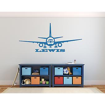 Personalised Plane Aeroplane Jet Boys Bedroom Name Wall Sticker Decal Graphic