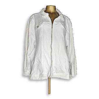 Denim & Co. Women's Plus Jean Jacket Comfy Knit Denim Zip White A349249