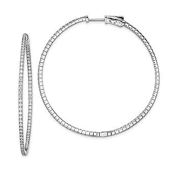 925 Sterling Silver Polished Safety clasp Rhodium-plated Rhodium Plated With Cubic Zirconia Hinged Hoop Earrings