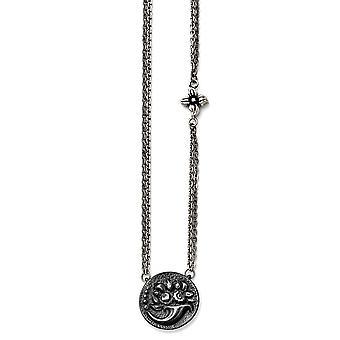 Titan Ster.sil schwarz Ti geätzten Floral Halskette - 18,25 Zoll poliert