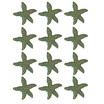 Grön ärg gjutjärn sjöstjärna låda Pull uppsättning av 12