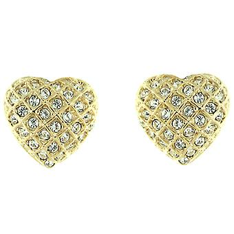 Clip On Earrings Store Gold  and  Clear Swarovski Crystal Love Heart Clip on Ear