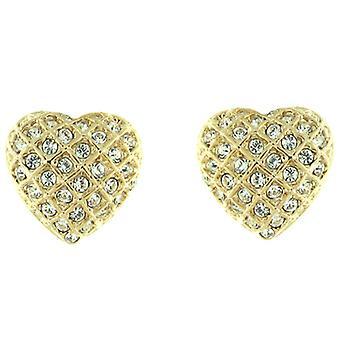 Clip op oorbellen winkel goud en duidelijke Swarovski Crystal Love hart Clip op oor