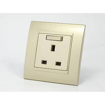 I LumoS AS Luxury Gold Plastic Arc Single Switched Wall Plug 13A UK Sockets