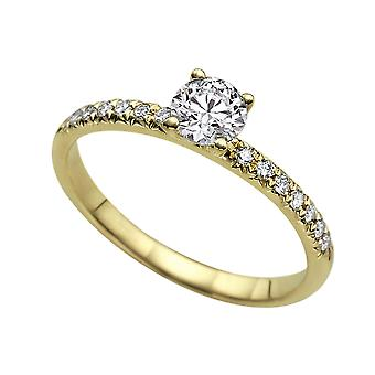 0.69 Carat D VS1 Diamond Engagement Ring 14K Yellow Gold Solitaire w Accents 4 Prongs Round