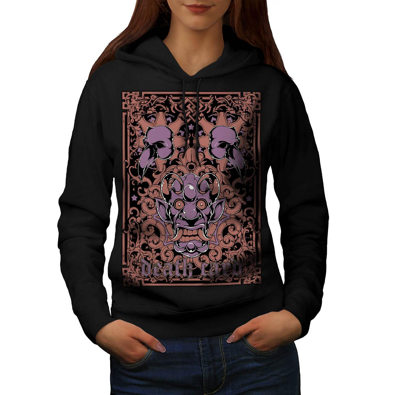 Death Card Devil Horror Women Black Hoodie | Wellcoda