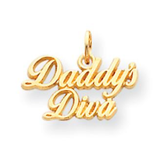 14k Gold Daddys Diva Pendant With Child Chain - 1.3 Grams - 15 Inch - Measures 10x18mm no bail