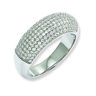 Sterling Silver and CZ Fancy Polished Ring - Ring Size: 6 to 8