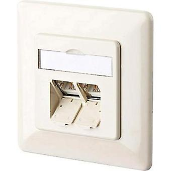 Network outlet Flush mount Insert with main panel and frame CAT 6 2 ports Metz Connect 1307381001-I Pearl white