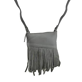 Genuine Leather Fringed Zip Top Cross Body Purse