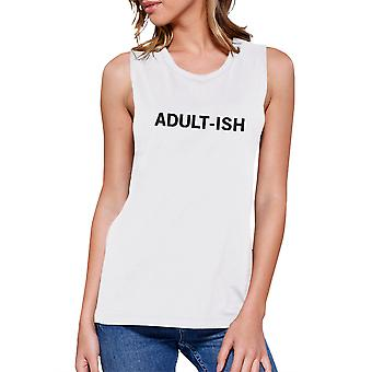 Adult-ish Womens White Sleeveless Crop Top Cute Typography Shirt