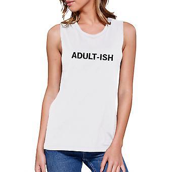 Adult-ish kvinners White vest avling topp søte typografi skjorte