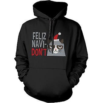 Funny Grumpy Cat Graphic Hoodie - Feliz Navidon't Christmas Hoodie