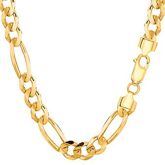 14k Yellow Gold Classic Figaro Chain Necklace, 7.0mm