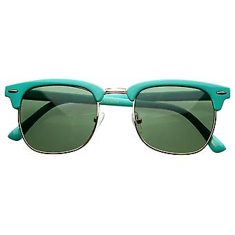 Retro Brow Multi-Color Half Frame Style Horn Rimmed Sunglasses