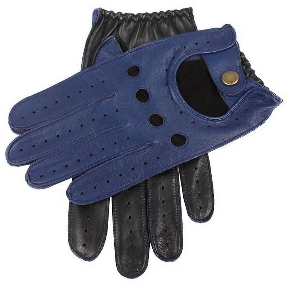 Dents Two Tone Leather Driving Gloves - Royal Blue/Black
