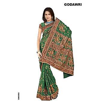Bhanumati Georgette Indiase Sari saree met zwarte broderie