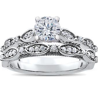 Bague de fiançailles diamant Vintage 1ct & correspondant demi-jonc Set 14k White Gold