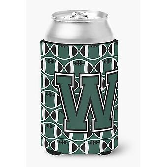 Letter W Football Green and White Can or Bottle Hugger