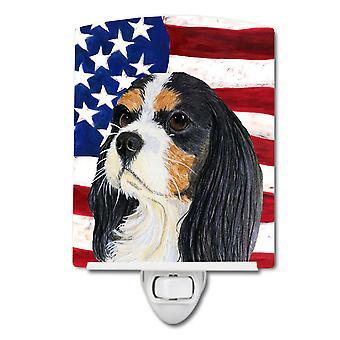 USA amerikanische Flagge mit Cavalier Spaniel Keramik Nachtlicht