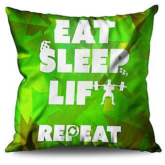Eat Sleep Lift Gym Sport Linen Cushion Eat Sleep Lift Gym Sport | Wellcoda