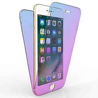 IPhone 7 Plus Full Body 360 TPU Gel Case - blauw / paars