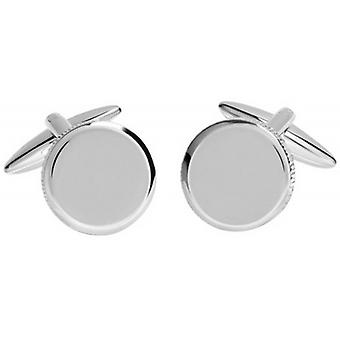 David Van Hagen Shiny Circle Textured Edge Cufflinks - Silver