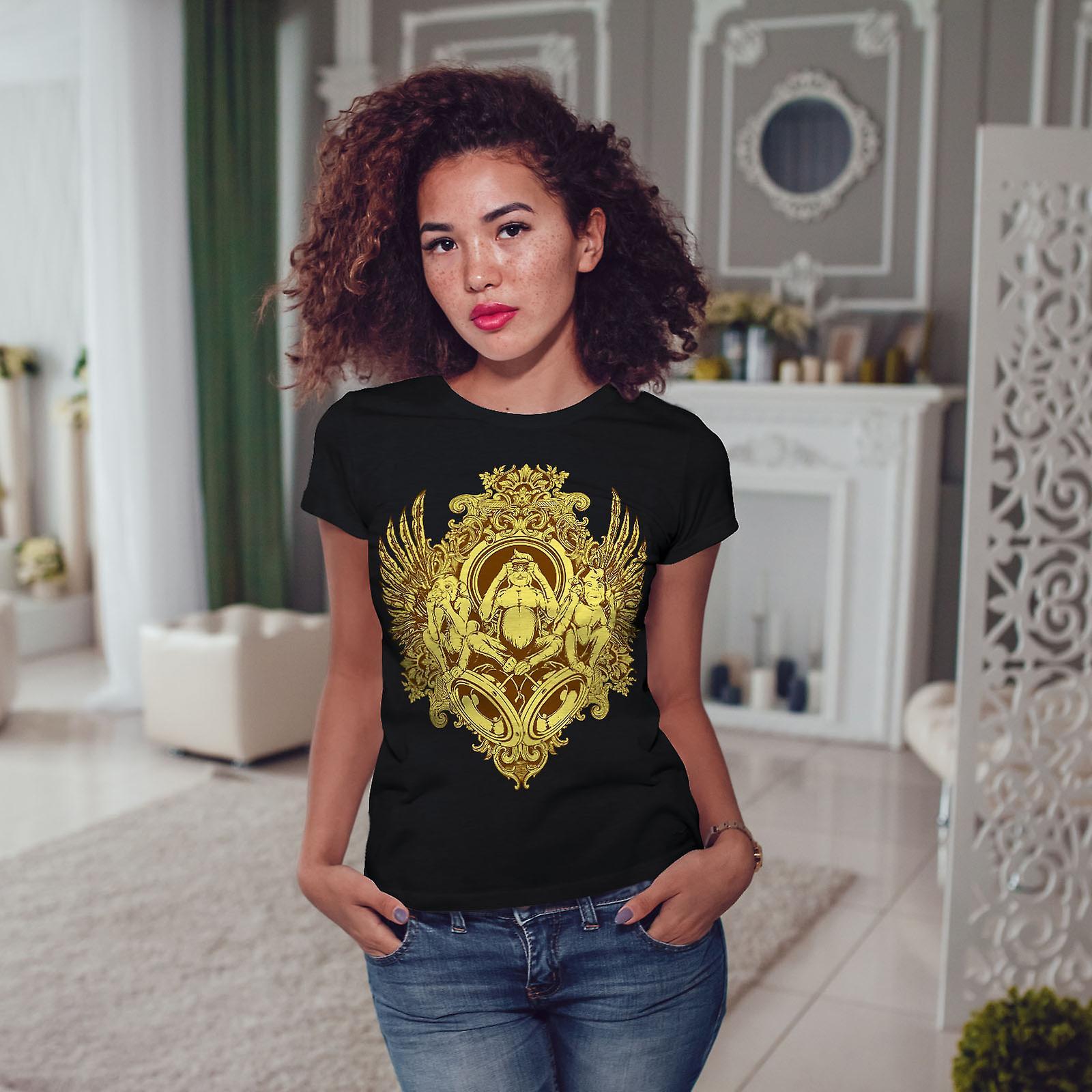 Mystiske dyret Vintage kvinner svart t-skjorte | Wellcoda