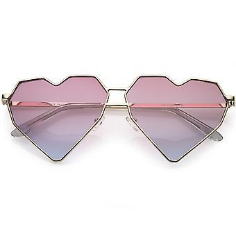 Негабаритных геометрические сердце очки двойной переносица цвета тонированные плоский объектив 62 мм
