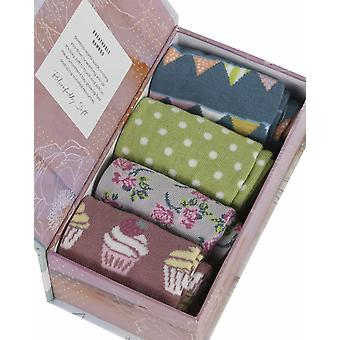 Garden Party Gift Box by Thought | 4 pairs women's bamboo crew socks