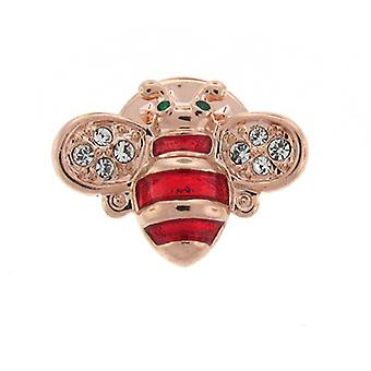 Brooches Store Gold Plated & Red Enamel and Crystal Bee Bug Lapel Pin Badge Brooch
