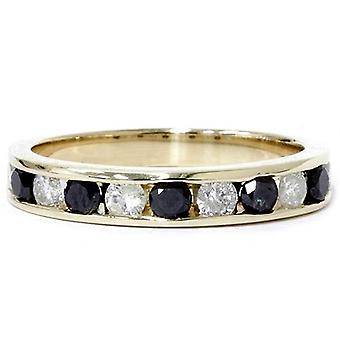 1ct Black & White Diamond Wedding 14K Gold Ring New