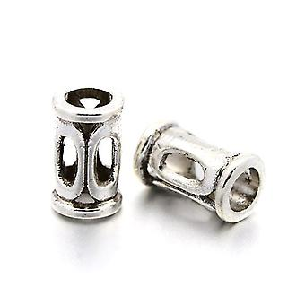 Packet 30 x Antique Silver Tibetan 6 x 10mm Tube Spacer Beads HA17490