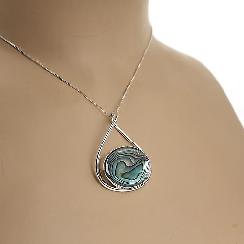 Abalone Hoop pendente in argento