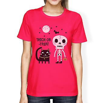 Skeleton Black Cat Womens Hot Pink Cotton Short Sleeve Graphic Tee