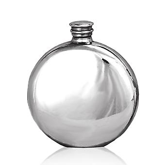 Plain Round Polished Pewter Flask - 6oz