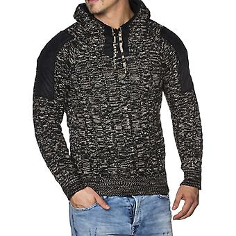 Tazzio fashion mens chunky knit sweater with hood black
