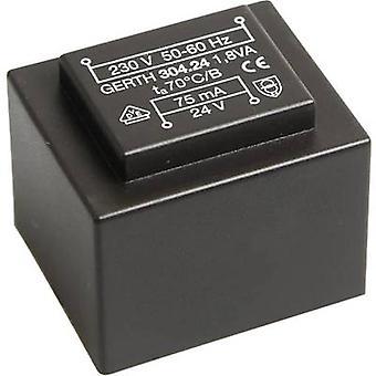 PCB mount transformer 1 x 230 V 1 x 18 V AC 1.80 VA 100 mA PT301801 Gerth