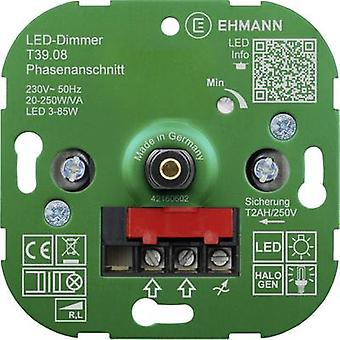 Ehmann 3900x0800 Flush-mount dimmer Suitable for light bulbs: Energy saving bulb, LED bulb, Halogen lamp, Light bulb